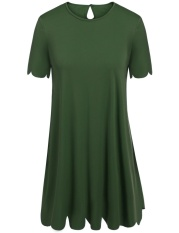 Cyber Women Plus Size O-Neck Short Sleeve Scalloped Casual A-Line Mini Party Dress ( Amy Green )