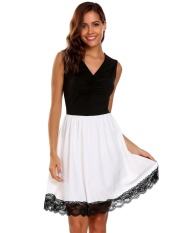 Cyber Women Sexy Sleeveless Lace Patchwork V Neck Color Block Cocktail Sexy Party Dress ( Black )