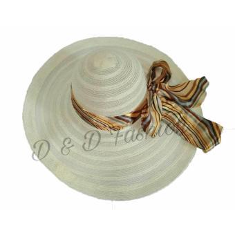 D   D Fashion Floppy Hat Wide Ribbon   Topi Pantai Lebar Pita Pelangi -  Cream e013fc8fe9