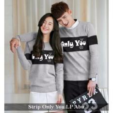 Distributor Baju Online - Kemeja Couple Murah - Baju Couple Strip Only You LP Abu