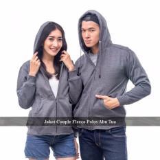 Distributor Jaket   Couple - Sweater Couple Online - Jaket Couple Polos Abu Tua Fleece