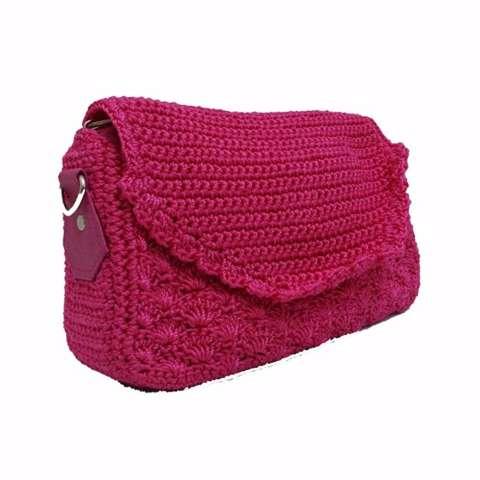 Djogja Klasik Craft Tas Rajut Selempang Tutup Oval - Pink