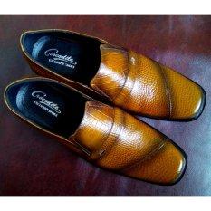 dm Sepatu Pantofel Kulit Asli Motif Buaya (Brown)