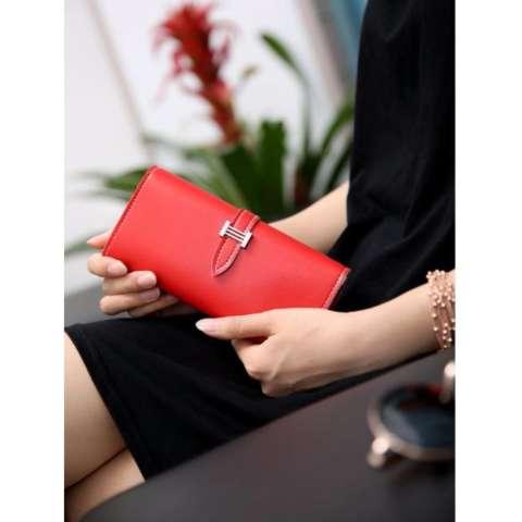 Korean Fashion Style Dompet Wanita Simple Import Bag Purse Leather Panjang Kartu - Red