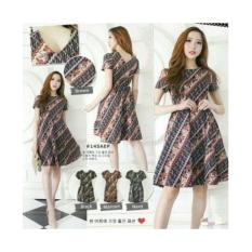 dress flare batik gaun mekar rok payung stretch v back cantik natal