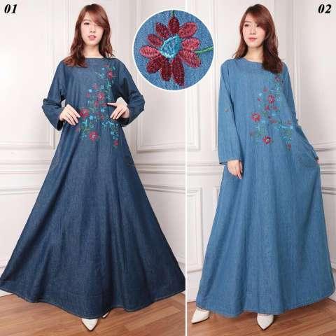 Dress jeans maxi panjang wanita jumbo long dress Yarina biru muda
