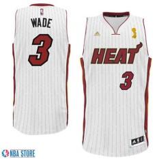 Dwyane Wade #3 NBA Men's White Trophy Ring Banner Swingman Basketball Jersey Quick Dry Breathable Comfortable ( White ) - intl