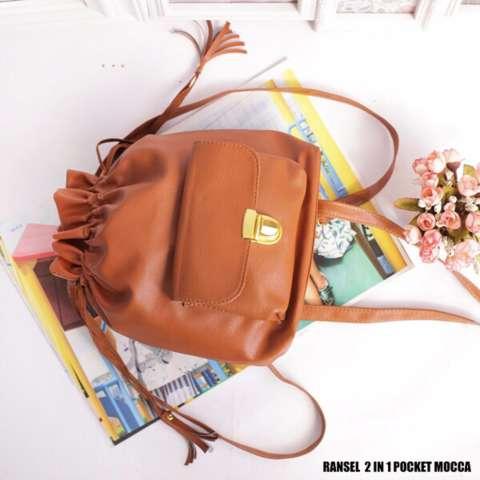 EL PIAZA Mini Ransel Serut Pocket Mocca - Ransel Mini Ransel Lucu Tas Ransel Sling Bag