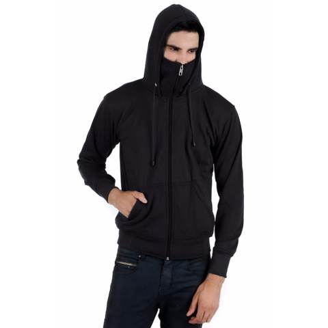 Elfs Shop-Jaket Hoodie Polos Ninja Pria-Hitam