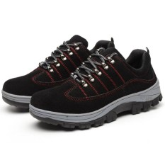 Eozy Men Anti Slip Stab Safety Shoes Antiskid and Wear-resistant Shoes(Black) - intl