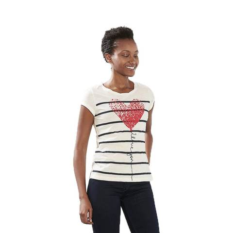 Esprit 017CC1K016 Women's T-Shirts - Off White 2