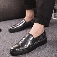 Europe Station Inggris Motif Kulit Ular Pria Sol Tebal Sepatu Sepatu Musim Semi Dan Musim Gugur Sepatu Pria (8959 Hitam Sepatu Golden Goose)