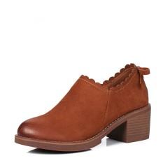 Europe Station Kulit Dengan Ankle Boots Baru Boots Pendek (Brown)