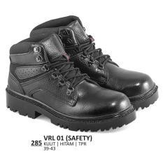 Everflow  Sepatu Safety Pria - VRL 01  Warna : Hitam  Bahan : Kulit