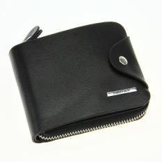 Executive Pria pelangsing asli butir lipat kulit ritsleting tas jinjing saku dompet di tas trendi Slip notecase - hitam - International