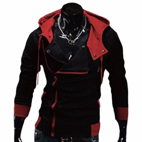 Kesukaanqube Explosion Assassin S Creed sweater Miring Ritsleting Jaket Bertudung Hitam Merah-Intl