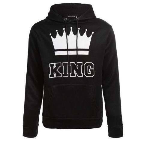Fantastis Flower HOT 2017 BARU King dan Queen Loose Atasan Kasual Kemeja Lengan Panjang Hooded Sweater-Hitam- Int: QUEEN-XL-Intl 3