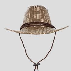 Faseno Topi Koboi Cowboy Rotan Rajut-Coklat Tua