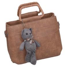 Fashion Cute Top Handle Leather Bear Women HandBags Bag - intl