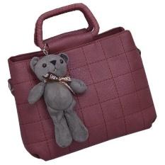 Fashion Cute Top Handle Leather Bear Women HandBags Tas-Intl