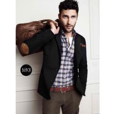 Fashion Exclusive - Jas Pria Preppy Blazer With Elbow - Hitam