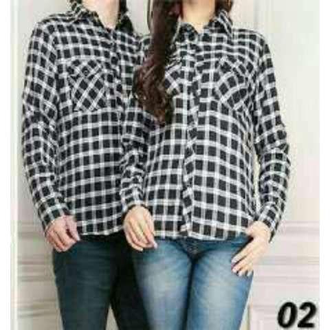 Jual Beli Fashion Flower Kemeja Pasangan Kemeja Couple Baju Couple Couple Flanel Couple Kotak Flanel Ff13