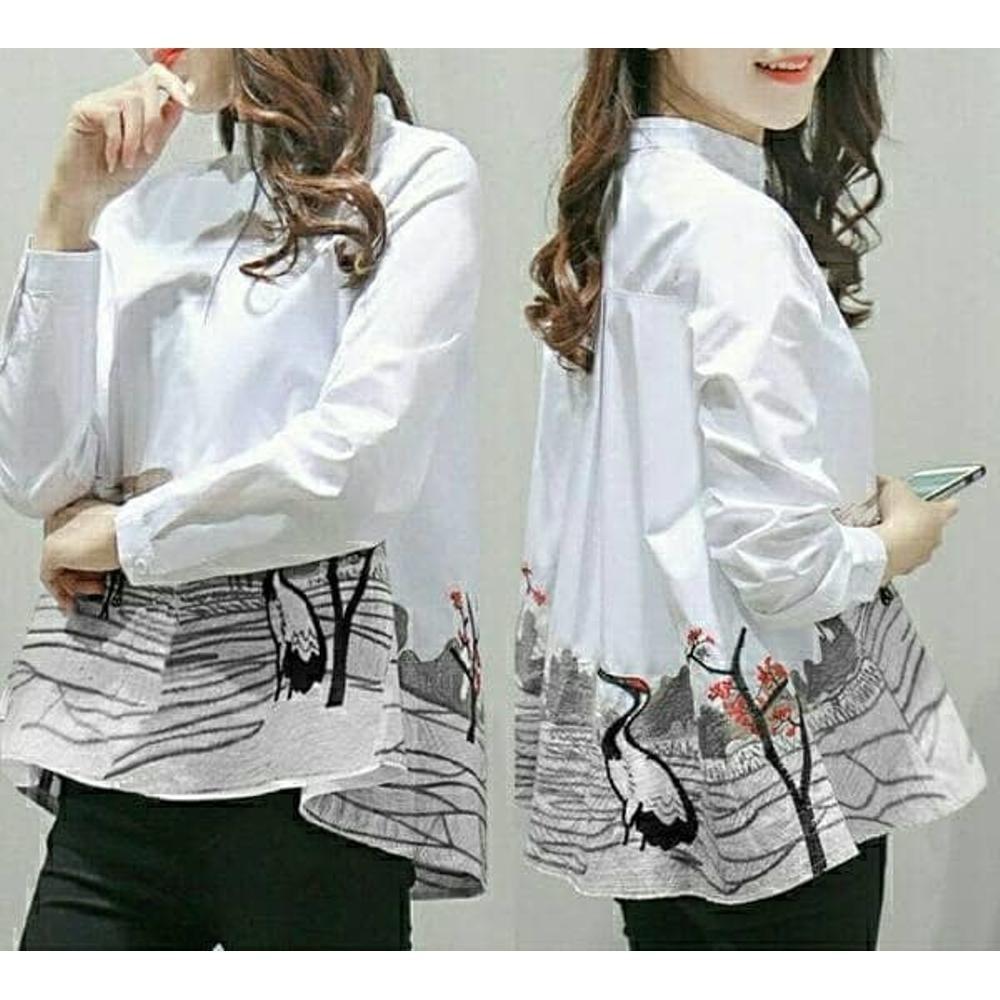 Fashionshop Blouse Kemeja Fanny Lengan Panjang / / Baju Wanita / Blouse Korea / Atasan Wanita