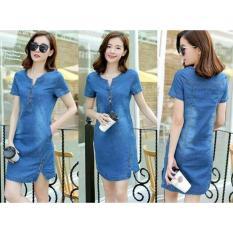 Fashionshop Dress Tina Denim / Dress Korea / Dress Renda / Dress Brukat / Dress Midi