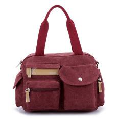 Wanita Fashion Tas Kanvas, Bahu Messenger Bag (Ungu)-Intl