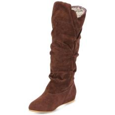 Wanita Musim Dingin Bergelombang Meningkat Dalam Frosted Suede Pertengahan Betis Boots-Intl