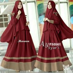 Flavia Store Gamis Syari Set 2 in 1 FS0561 - MAROON / Baju Muslim Wanita Syar'i / Gaun Muslimah / Maxi Dress Lengan Panjang / Hijab / Srayra