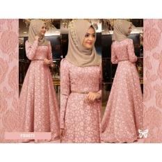 Flavia Store Maxi Dress Lengan Panjang Set 2 in 1 FS0073 - PEACH / Gamis Syari / Gaun Pesta Muslimah / Baju Muslim Wanita Syar'i / Srreynata