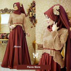 Flavia Store Maxi Dress Lengan Panjang Set 2 in 1 FS0488 - MAROON MOCCA / Gamis / Gaun Pesta Muslimah / Baju Muslim Wanita / Hijab / Sryolanda