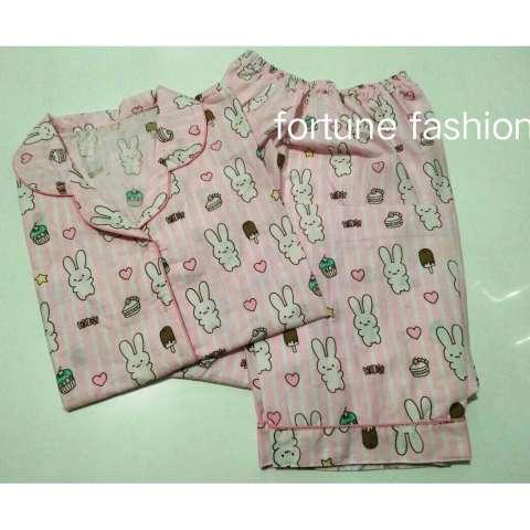 Fortune Fashion Piyama CP Bunny Salur - Pink / Piyama Murah / Piyama Karakter / Baju