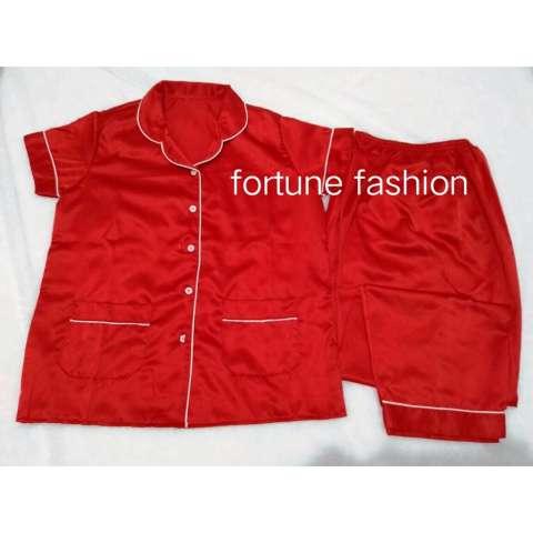 Fortune Fashion Piyama CP Satin - Merah / Piyama Murah / Piyama Karakter / Baju Santai