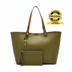 Fossil Rachel Olive Green Leather Tote Bag - Tas Wanita - Hijau