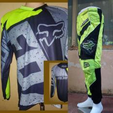 ... Fox Jersey Celana Setelan Trail Cross Motocross Hijau stabilo