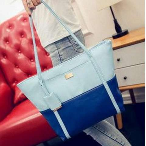 Freeshop Tas Wanita Women Fashion PU Tote Leather Handsbags Shoulder Bag  Tote Bag Combination Branded Import 0d86b4a6ac