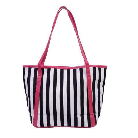 Freeshop Tas Wanita Women Fashion PU Tote Leather Handsbags Shoulder Bag Tote Bag Stripe Branded Import