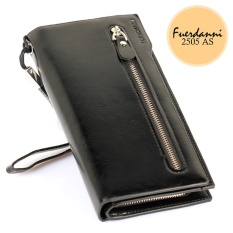 Fuerdanni Dompet Fashion Import PU leather premium long wallet with zipper - Hitam