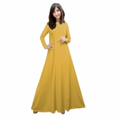 Gamis Jersey Polos Kuning Fit XL