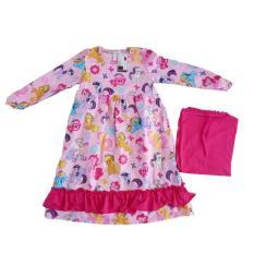 Gamis Katun Anak motif Kuda Poni Pink