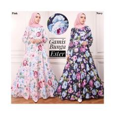 Gamis Katun / Gamis Maxi DRess Katun Ester Motif Bunga Warna Pink No Pasmina