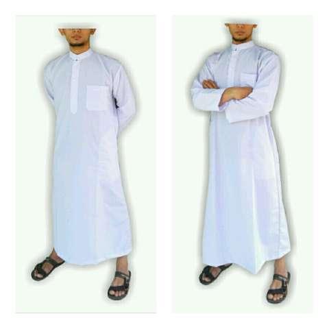 Gamis pria gamis ikhwan jubah arab putih polos gamis pria putih polos 1