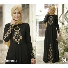 Gamis Terusan Maxi Ravina / Syari Simple Elegant / Baju Muslim Wanita / Kebaya Muslimah Modern (venara) SS - Hitam