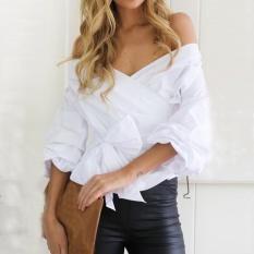 George Toko Jual Hot 3 Warna WANITA V Leher Bahu Kemeja Kasual Lengan Panjang T-shirt Blus Tops (Putih) -Intl