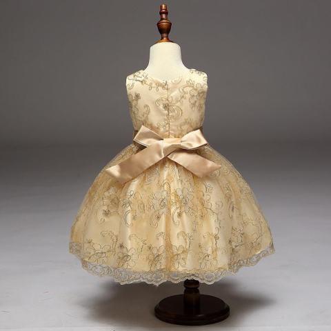 Gadis Putri Gaun Rok Emas Gaun Sulaman Girl Dasi Kupu-kupu Gaun Gadis Bunga Gaun-emas-Intl 2