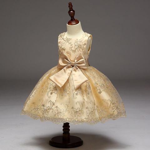 Gadis Putri Gaun Rok Emas Gaun Sulaman Girl Dasi Kupu-kupu Gaun Gadis Bunga Gaun-emas-Intl 1