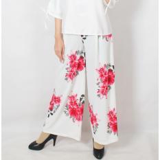 GLM - Celana  Kulot - Big size Kulot Panjang - Sun Flower Putih