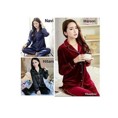 Glow Fashion Baju tidur piyama atasan blouse kemeja tangan panjang dan celana panjang wanita jumbo blus